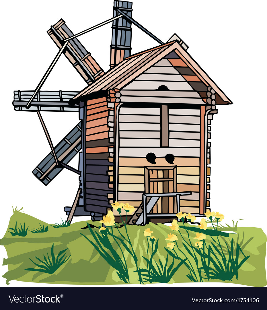 A wooden windmill vector   Price: 1 Credit (USD $1)