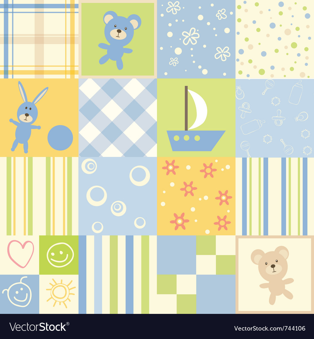 Baby seamless set of child patterns vector | Price: 1 Credit (USD $1)