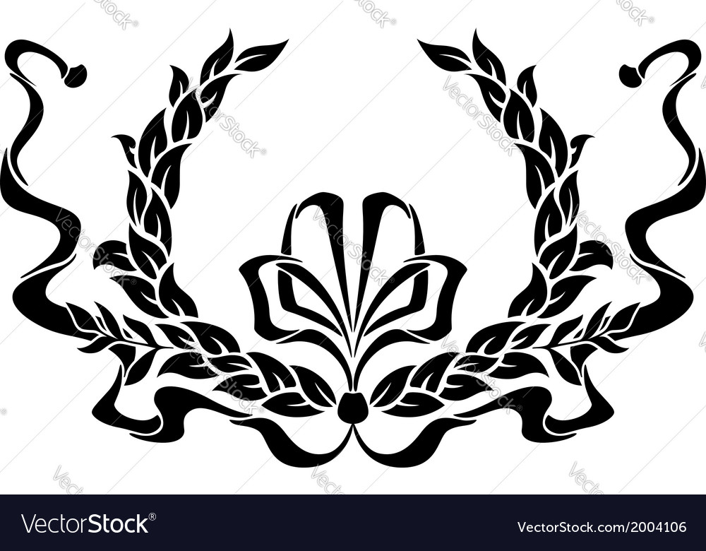 Black and white foliate wreath with a ribbon vector | Price: 1 Credit (USD $1)