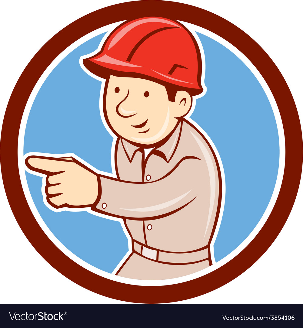 Builder construction worker pointing circle vector | Price: 1 Credit (USD $1)