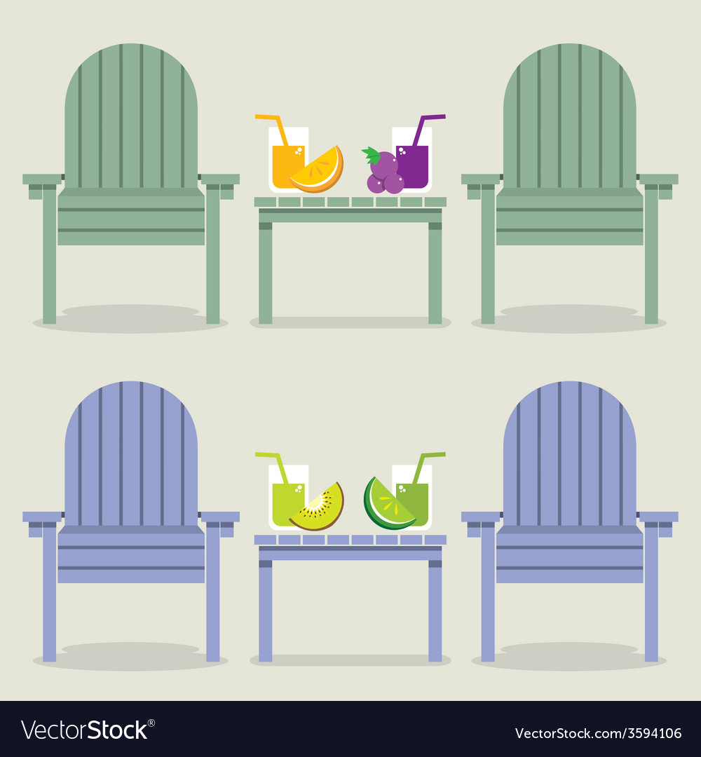 Chairs set with fruit juice glasses vector   Price: 1 Credit (USD $1)