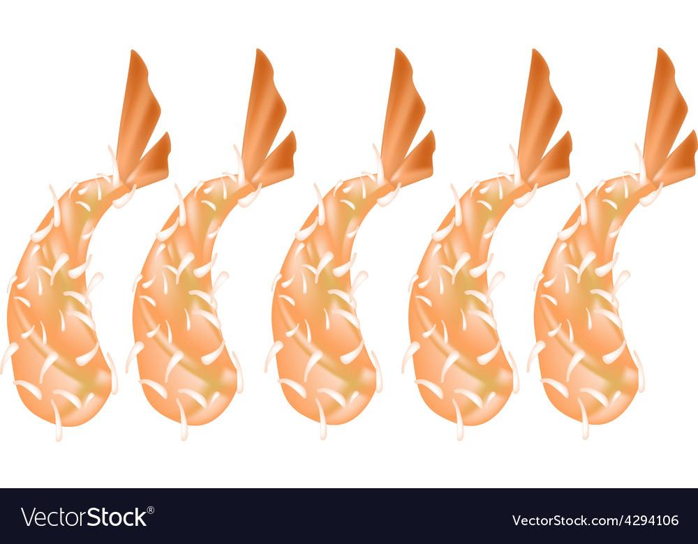 Ebi tempura or fried shrimp on white background vector | Price: 1 Credit (USD $1)