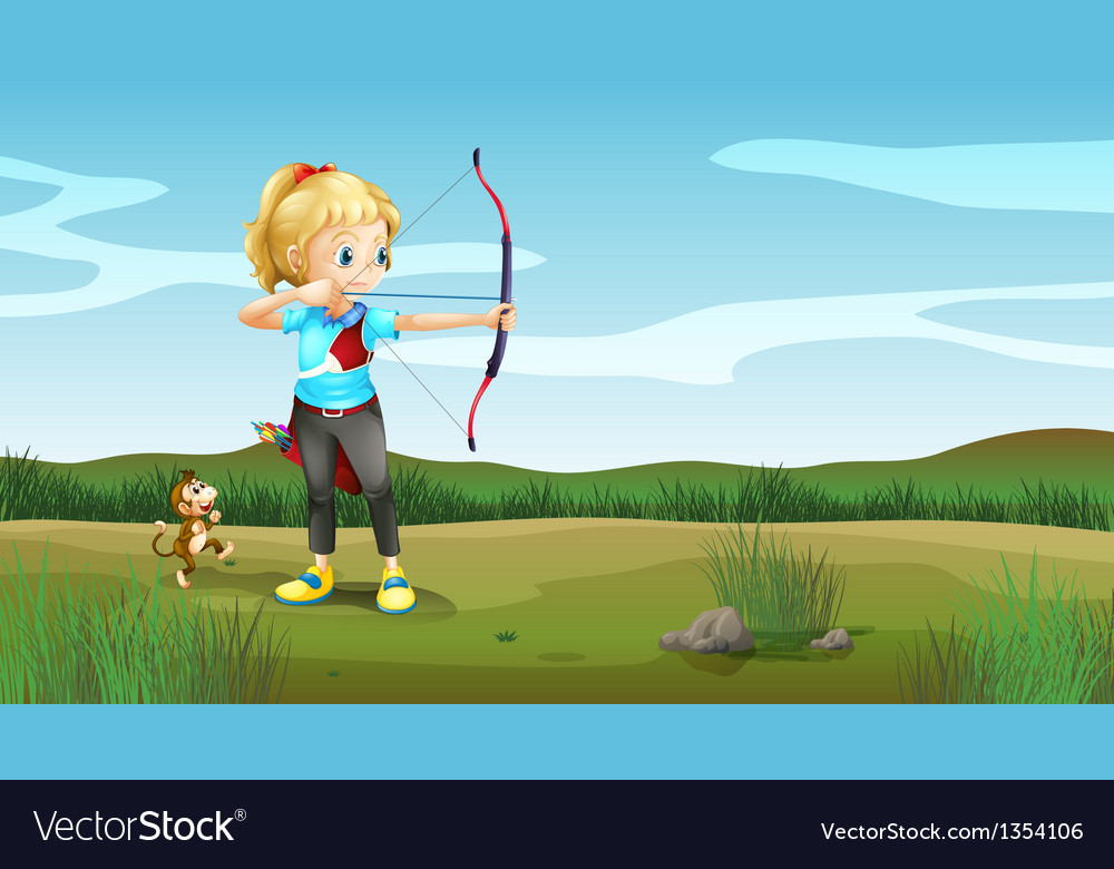 Girl archer vector | Price: 1 Credit (USD $1)