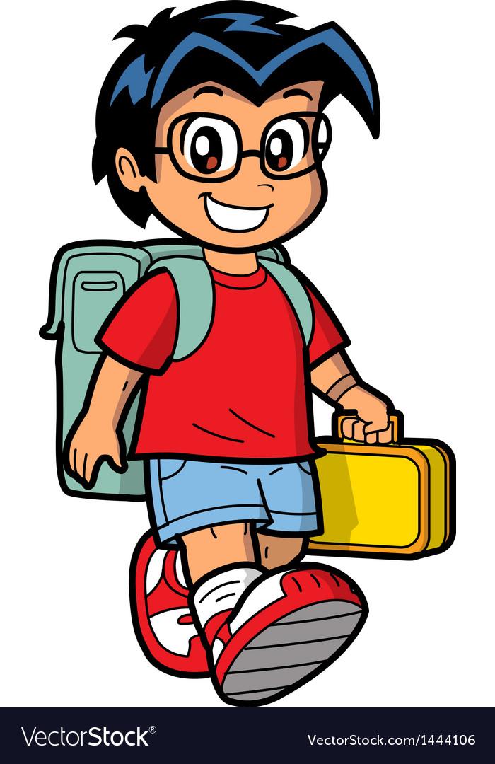 Happy schoolboy vector | Price: 1 Credit (USD $1)