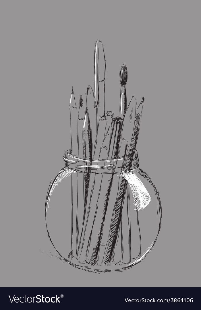 Pencils in jar vector | Price: 1 Credit (USD $1)