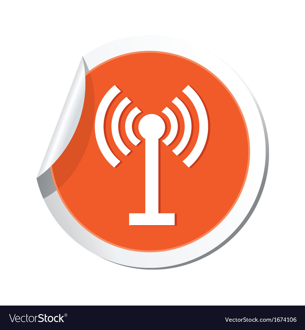 Wi fi icon orange sticker vector | Price: 1 Credit (USD $1)