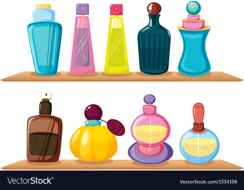 Wooden shelves with different perfumes vector | Price: 1 Credit (USD $1)