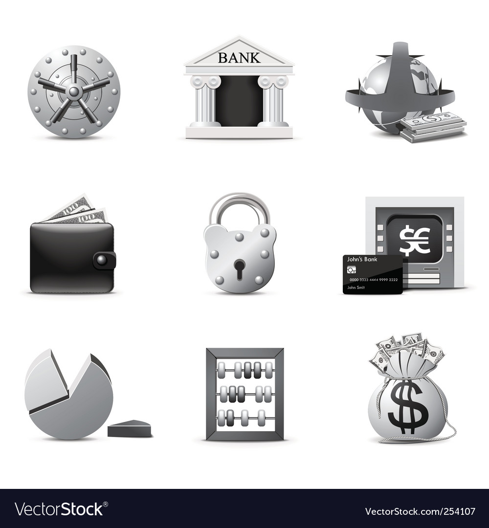 Banking icons  bw series vector | Price: 1 Credit (USD $1)