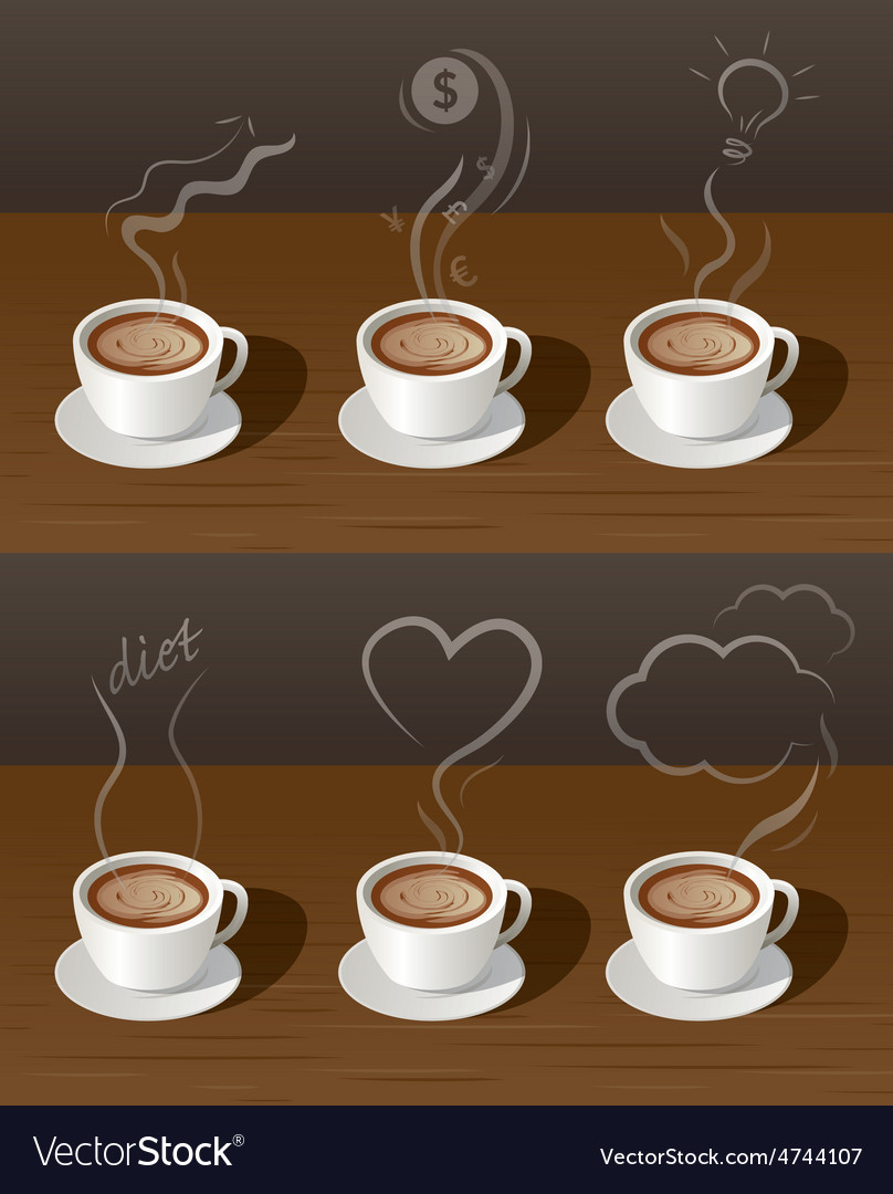 Coffee cup tea with smoke ideas concept vector | Price: 3 Credit (USD $3)