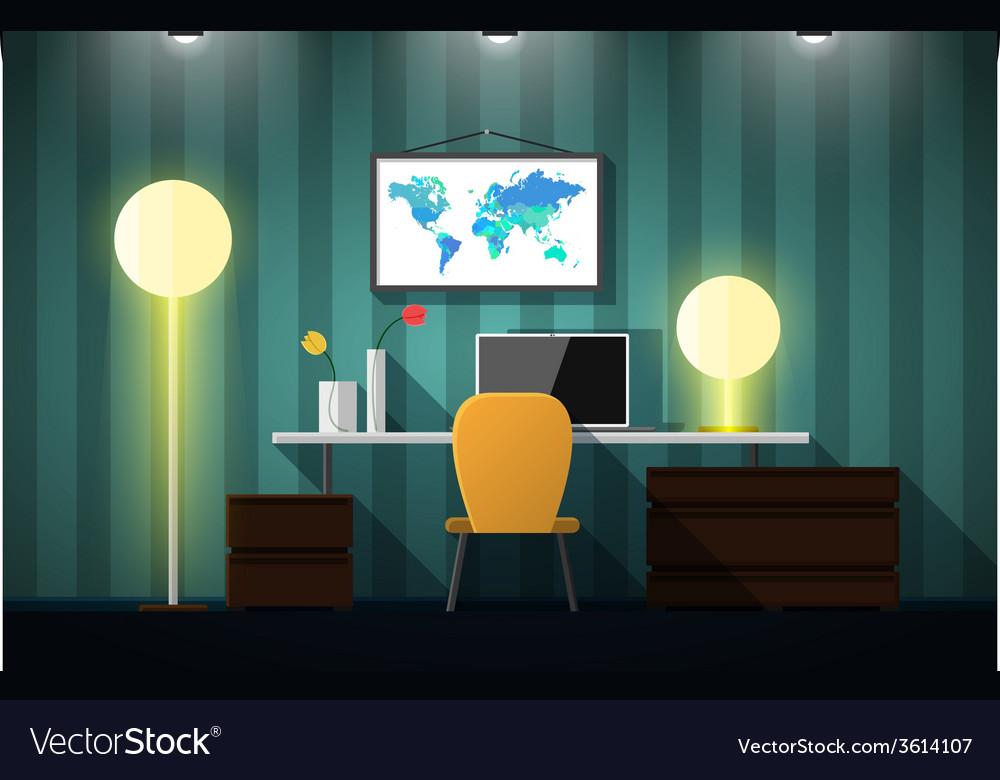 Flat design of modern creative office workspace vector | Price: 1 Credit (USD $1)