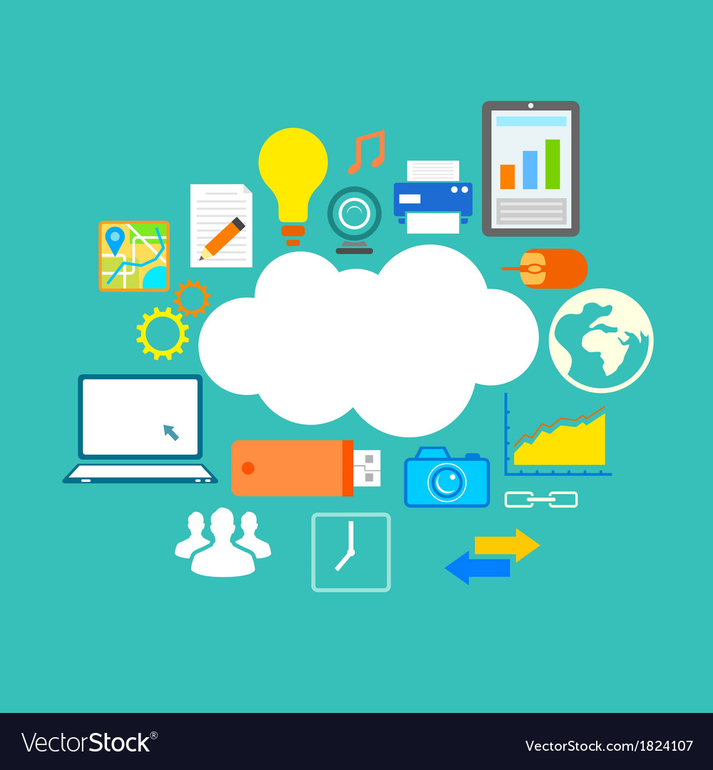 Flat technology design of cloud computing vector | Price: 1 Credit (USD $1)