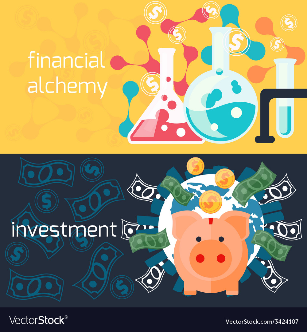 Global investment and financial alchemy concept vector | Price: 1 Credit (USD $1)