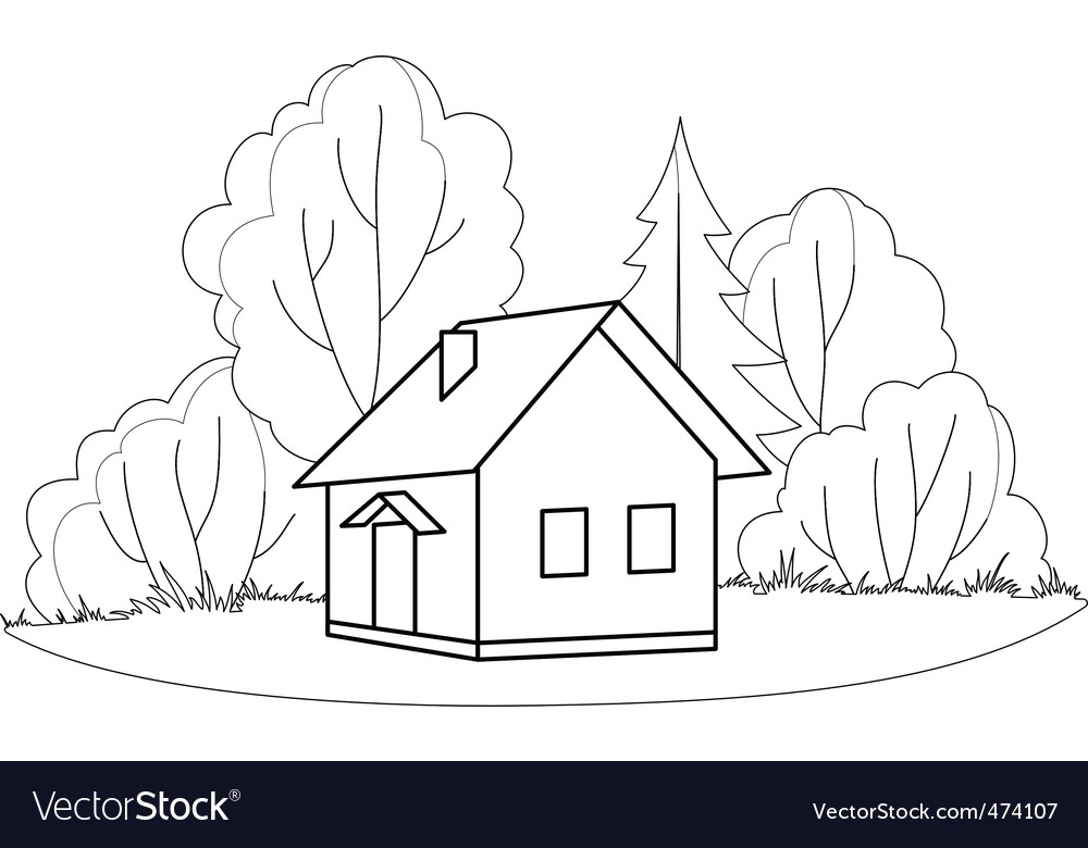 House and trees contours vector | Price: 1 Credit (USD $1)