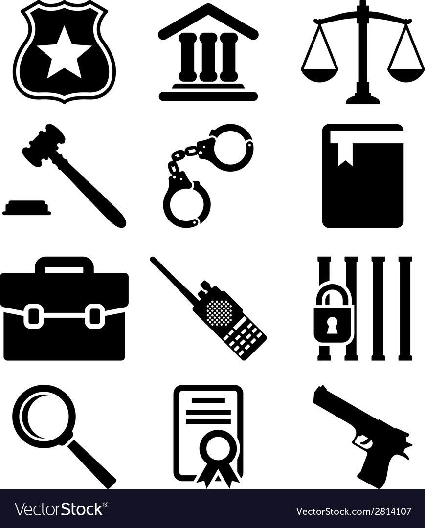 Law and justice icons set vector | Price: 1 Credit (USD $1)