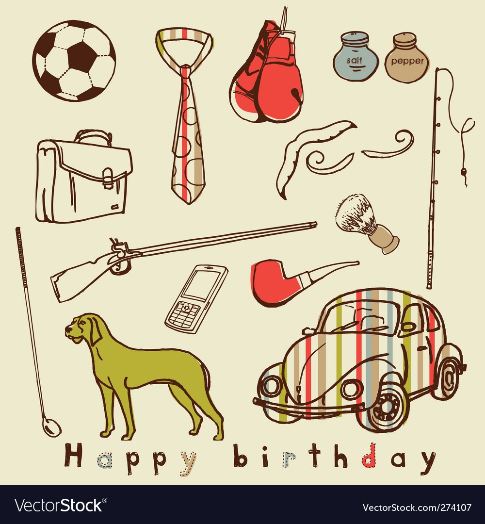 Men stuff greeting card vector