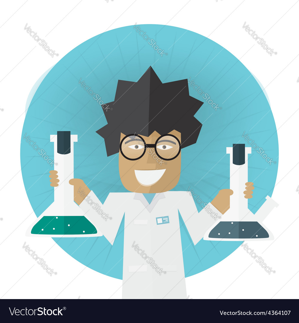 Scientist or doctor holding flask in hands vector