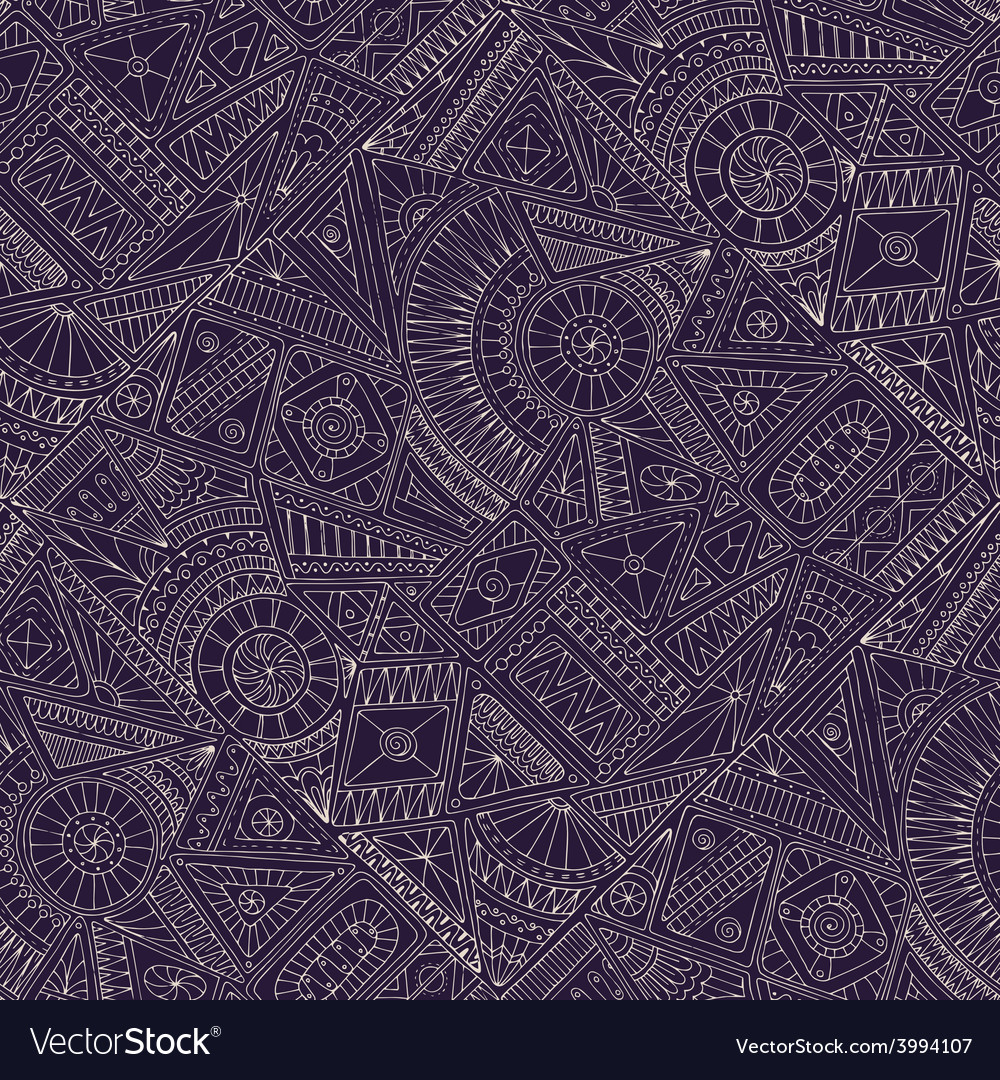 Seamless asian ethnic floral doodle pattern vector | Price: 1 Credit (USD $1)