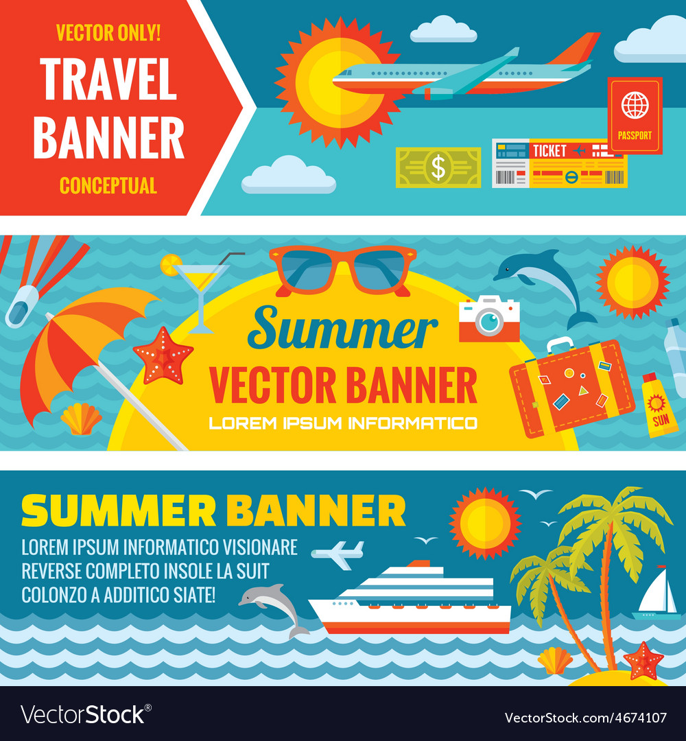 Summer travel - decorative bannrs vector | Price: 1 Credit (USD $1)