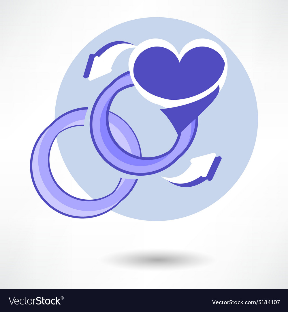 Wedding ring in heart isolated on white background vector | Price: 1 Credit (USD $1)