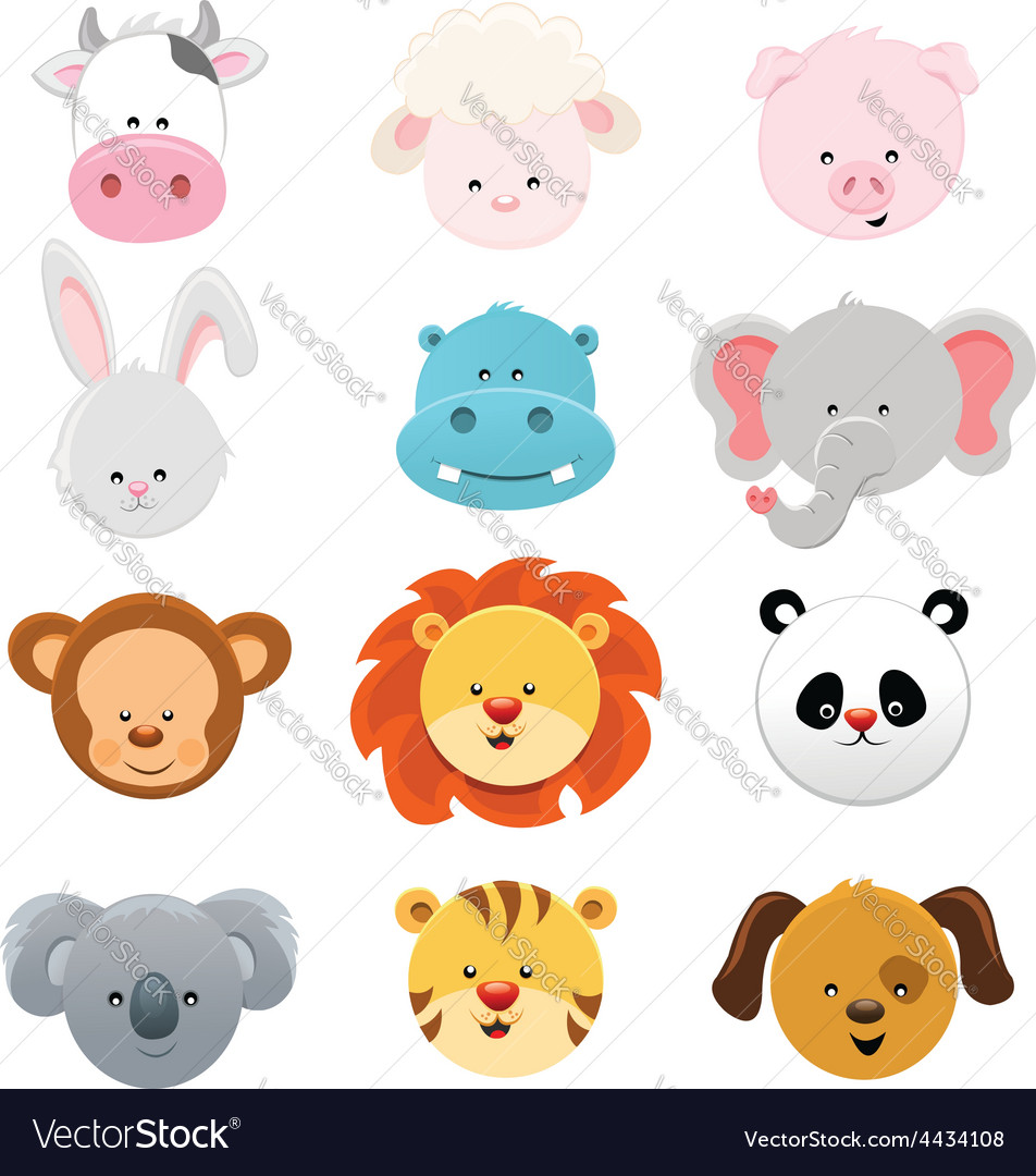 Animal faces vector | Price: 1 Credit (USD $1)