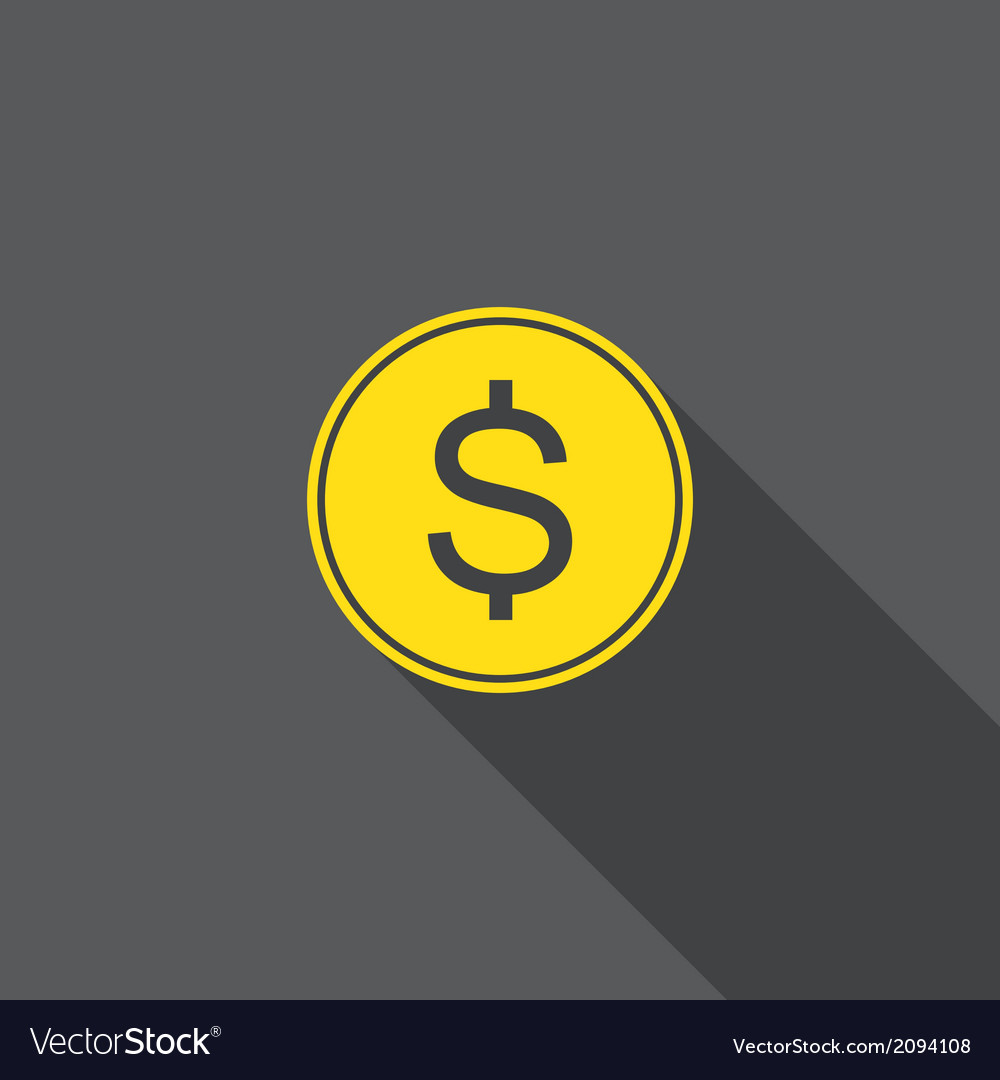 Coin flat icon with long shadow vector | Price: 1 Credit (USD $1)