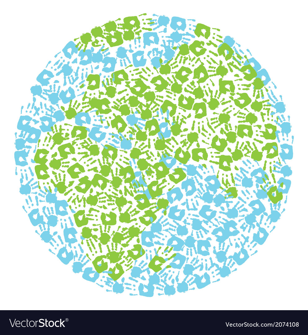 Earth globe made from handprints kids and parents vector | Price: 1 Credit (USD $1)