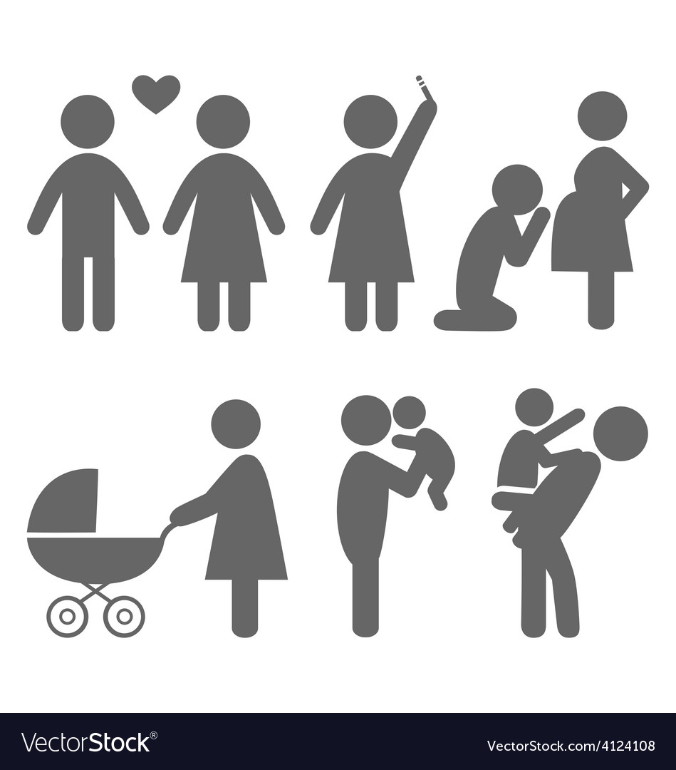 Family and baby flat icons isolated on white vector | Price: 1 Credit (USD $1)