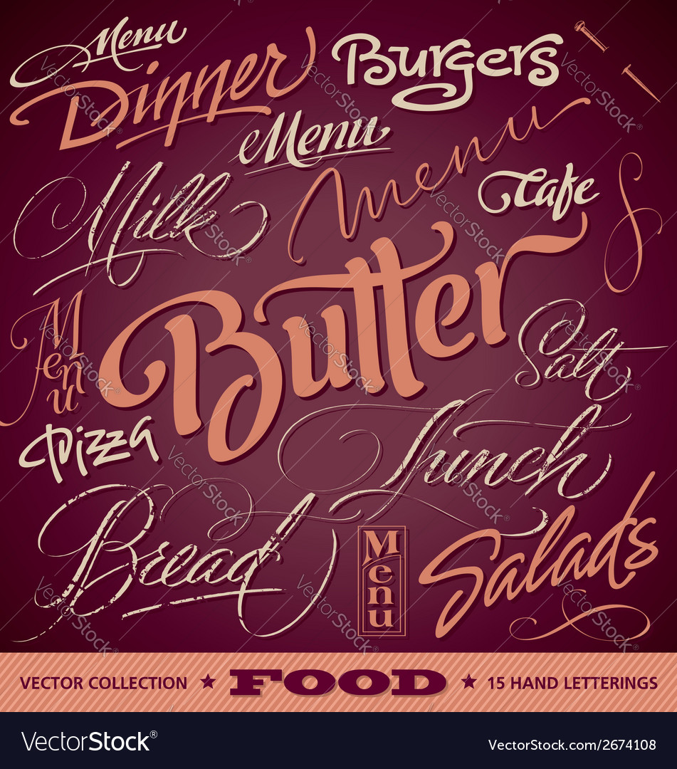 Food menu headlines set vector | Price: 1 Credit (USD $1)