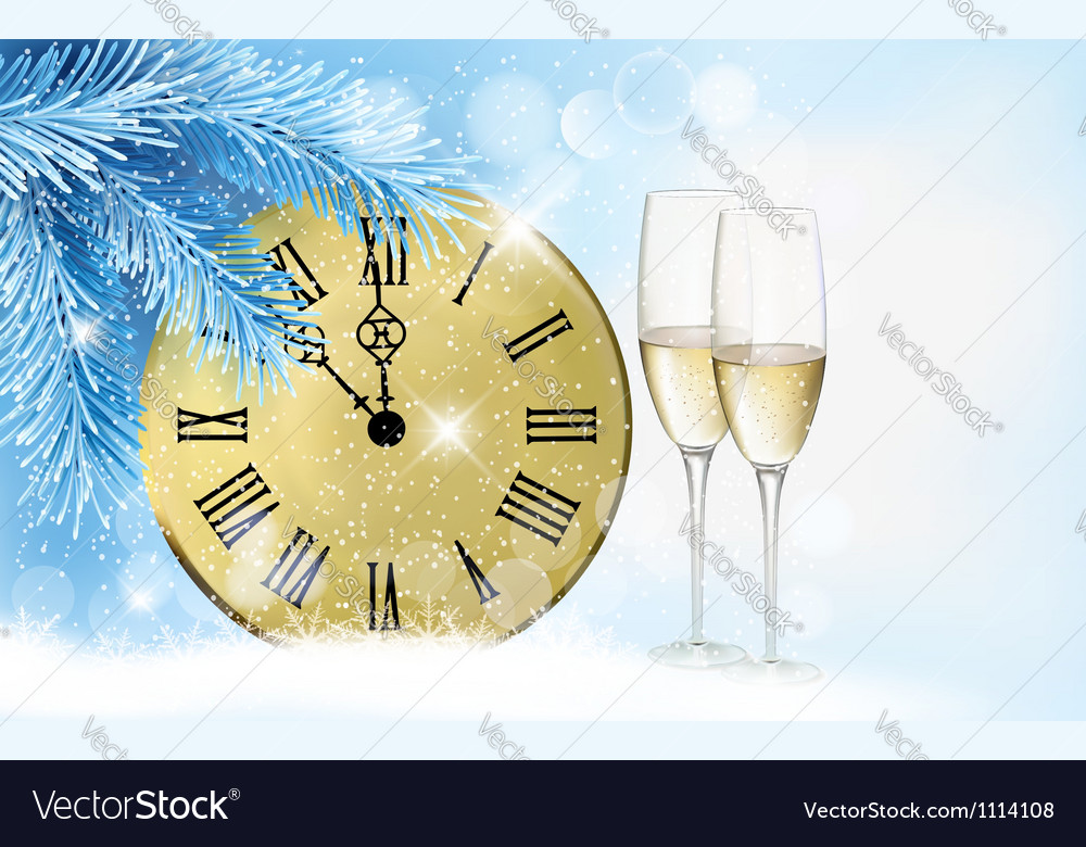 Holiday blue background with champagne glasses and vector | Price: 1 Credit (USD $1)