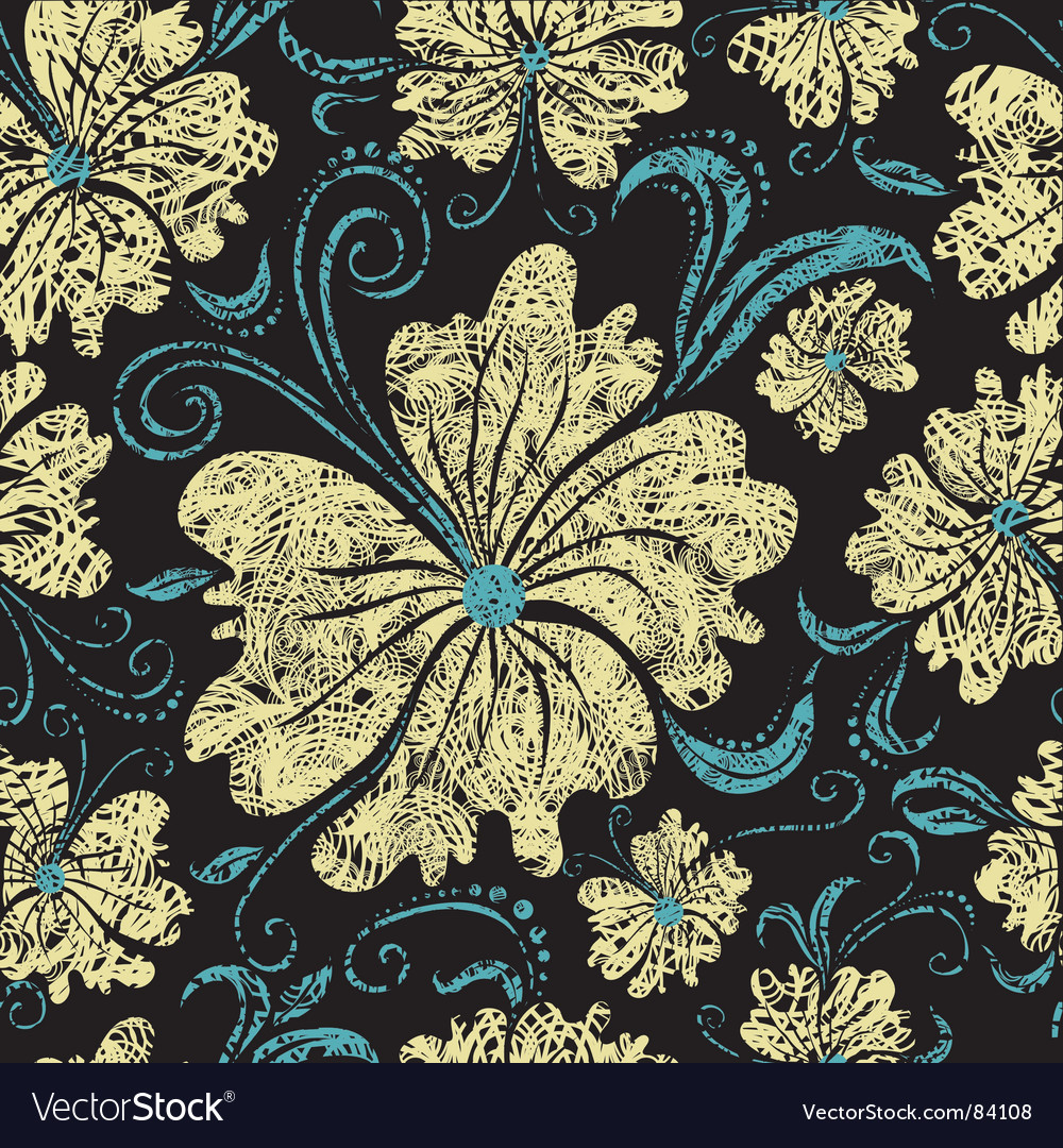 Seamless vintage grunge floral pattern vector | Price: 1 Credit (USD $1)