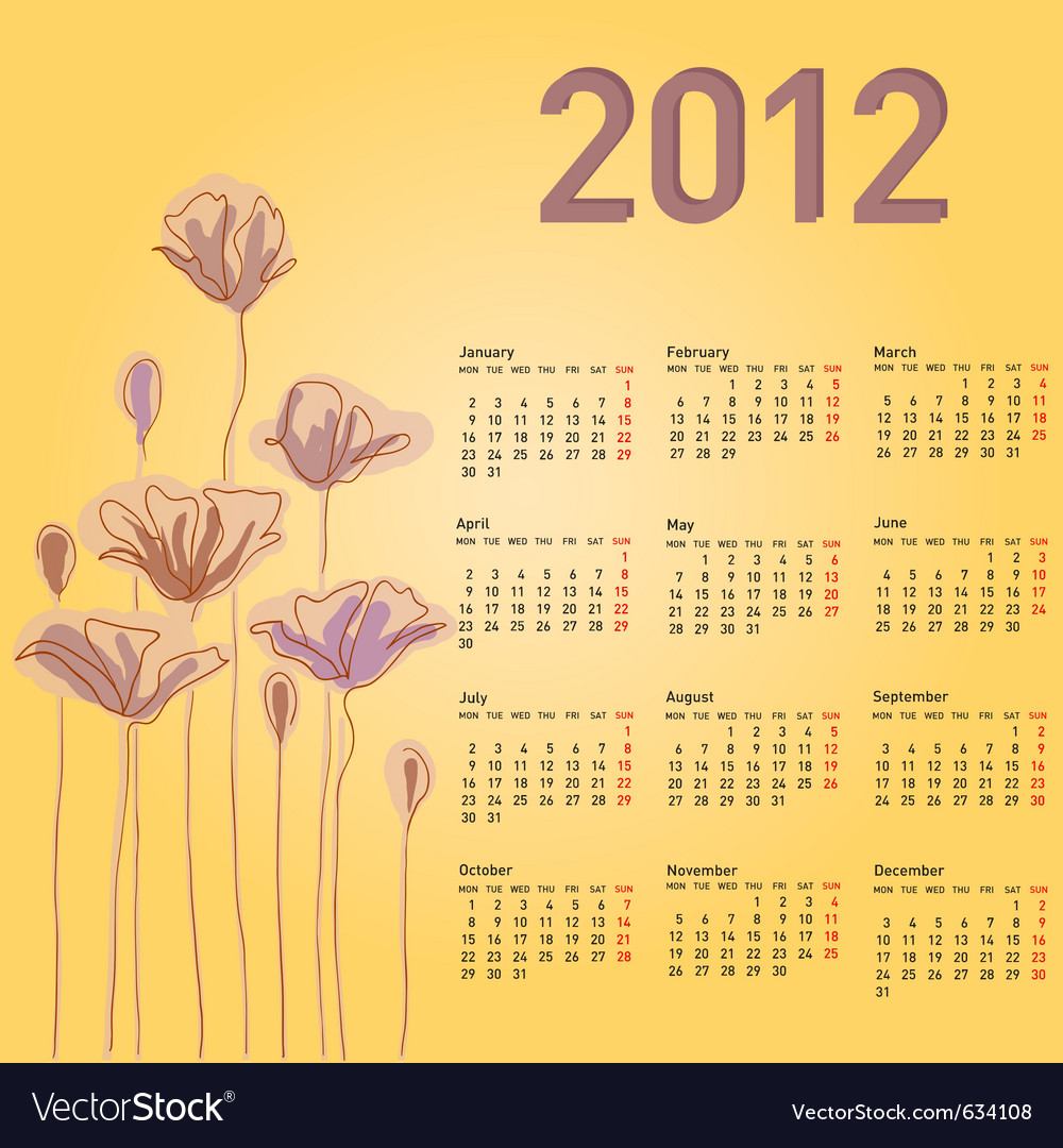 Stylish calendar with flowers for 2012 week starts vector | Price: 1 Credit (USD $1)