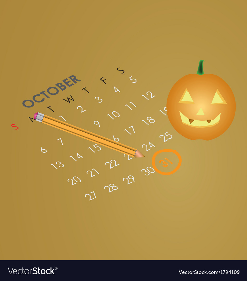 An october calendar showing the 31st prominently vector | Price: 1 Credit (USD $1)