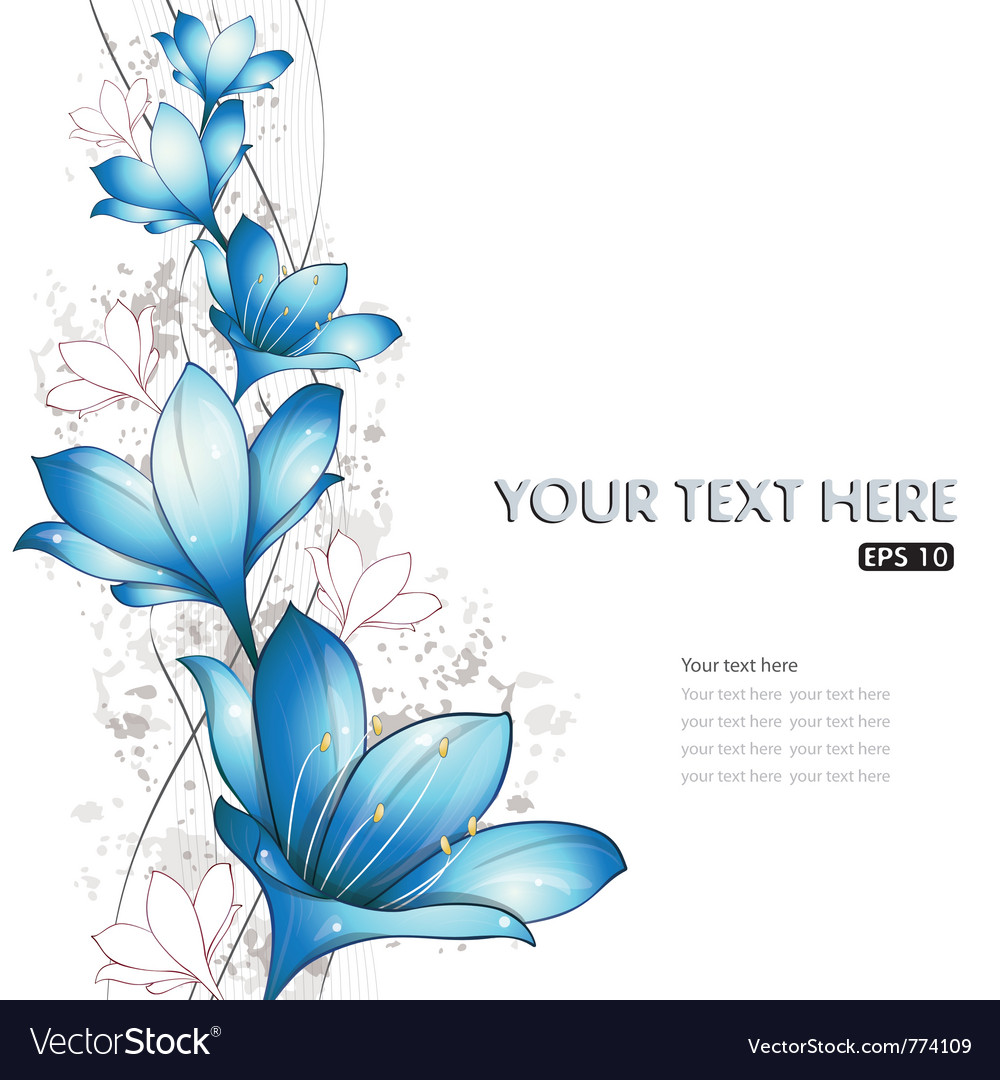Blue lilies design vector | Price: 3 Credit (USD $3)