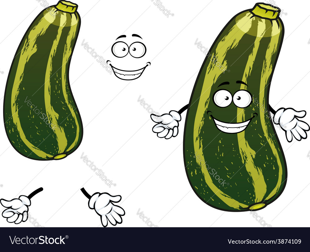 Cartoon striped green zucchini vegetable vector | Price: 1 Credit (USD $1)