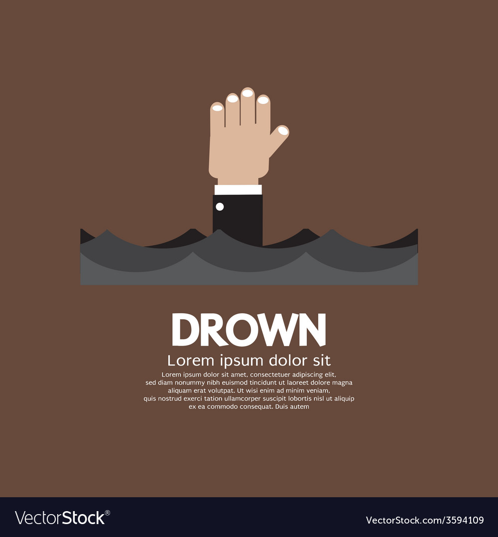 Drowning man showing his hand over the water vector | Price: 1 Credit (USD $1)