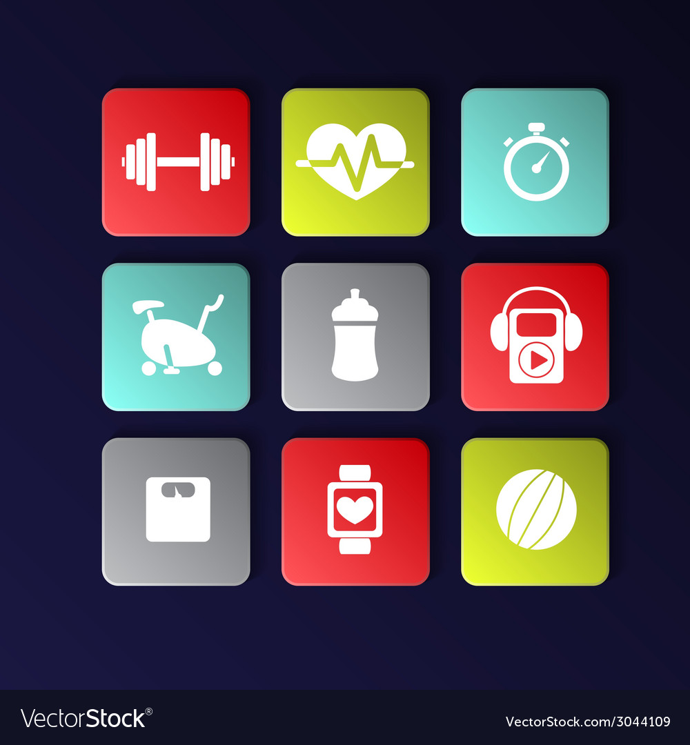 Fitness icons vector | Price: 1 Credit (USD $1)