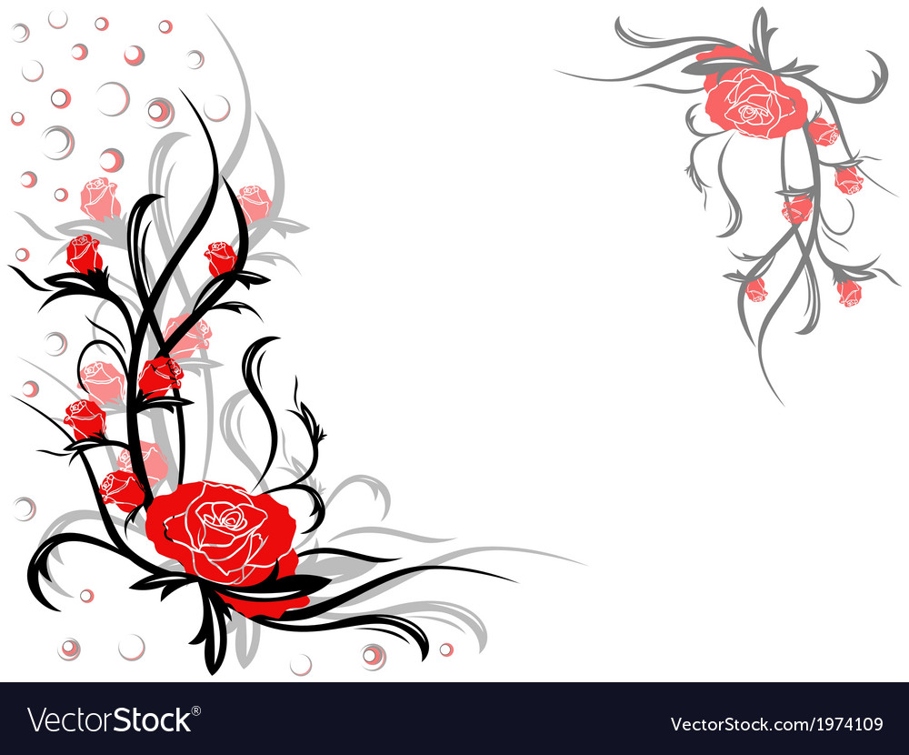 Floral swirl postcard with red roses vector | Price: 1 Credit (USD $1)