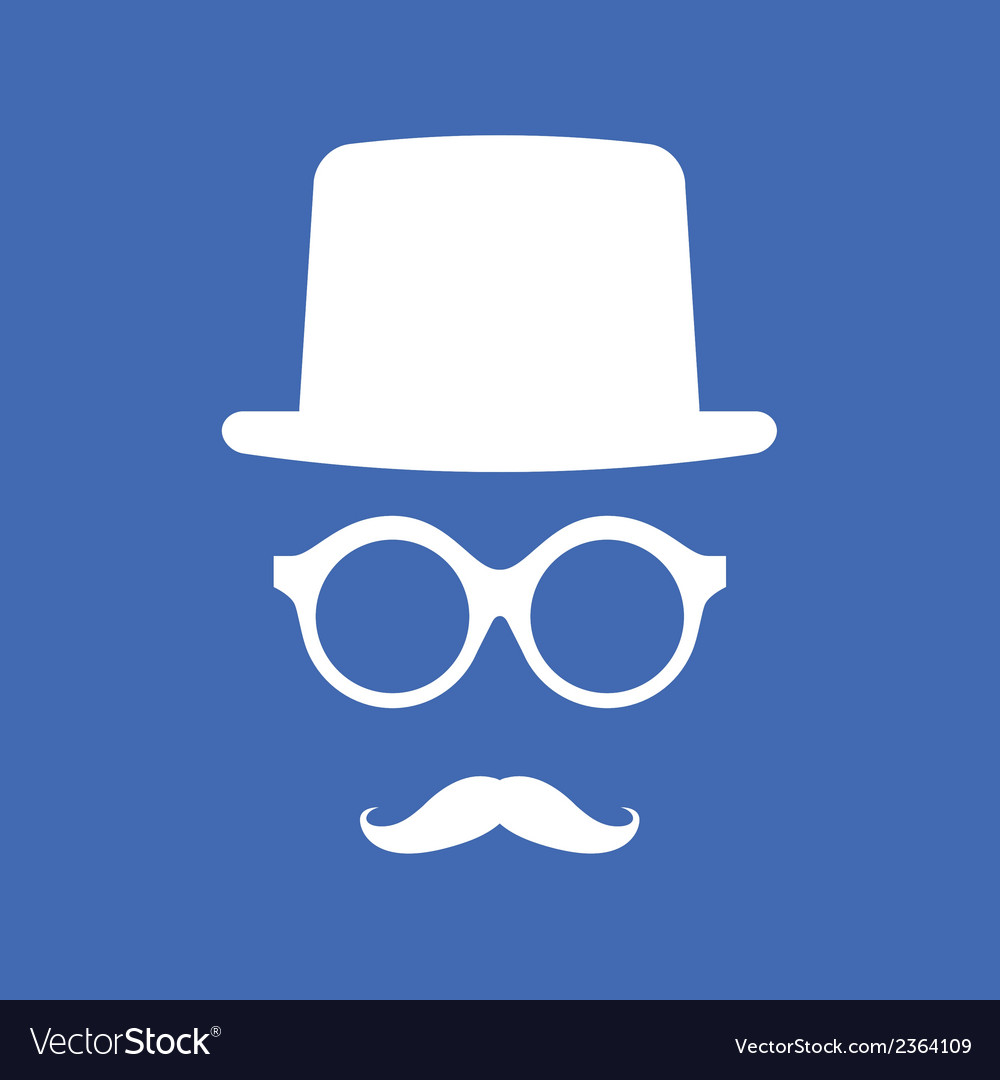 Hat eyeglasses and mustache white graphic on blue vector | Price: 1 Credit (USD $1)