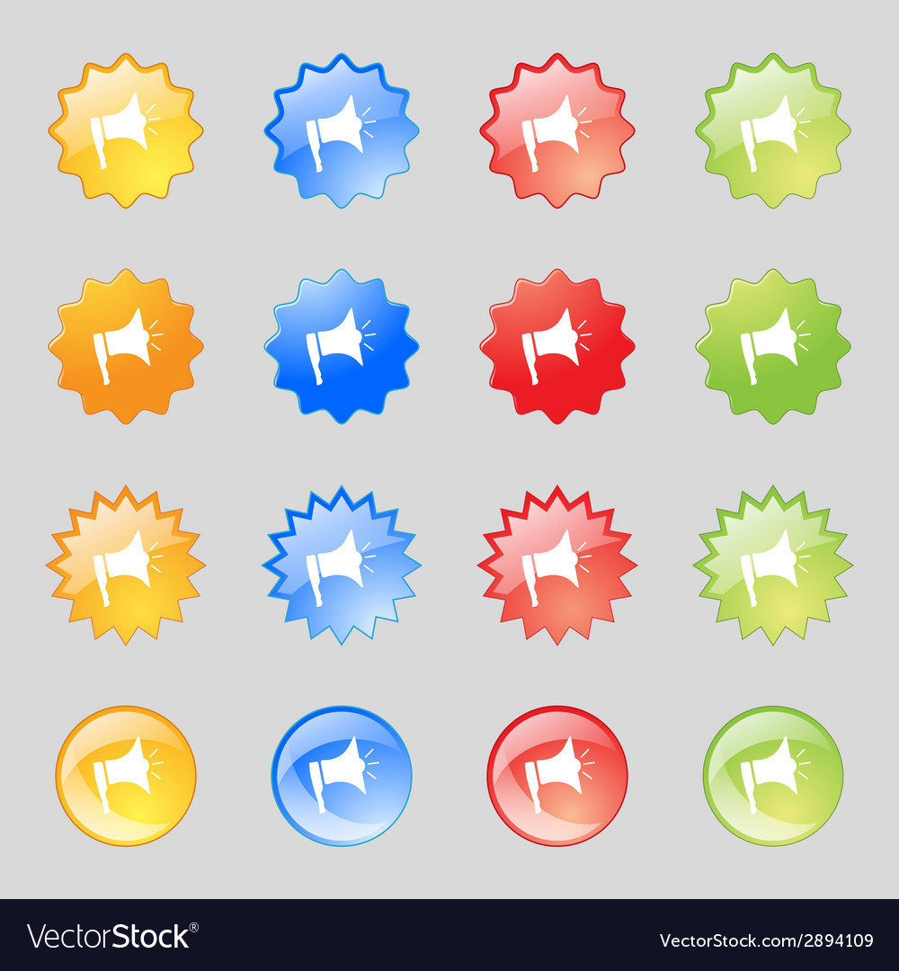 Megaphone soon icon loudspeaker symbol set colur vector | Price: 1 Credit (USD $1)