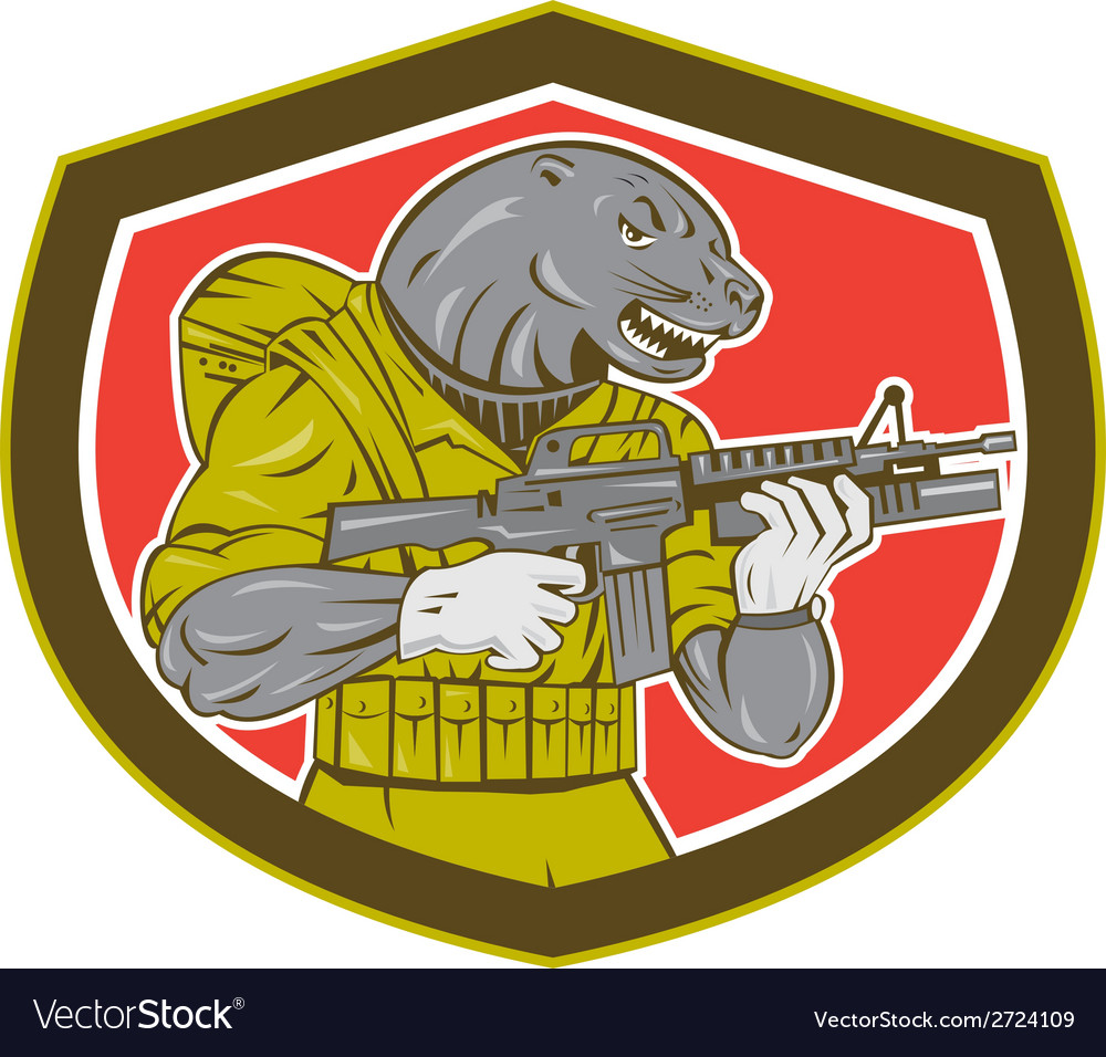 Navy seal with armalite rifle shield vector | Price: 1 Credit (USD $1)