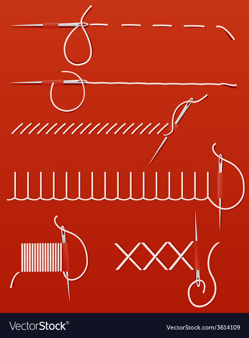 Needles and threads vector