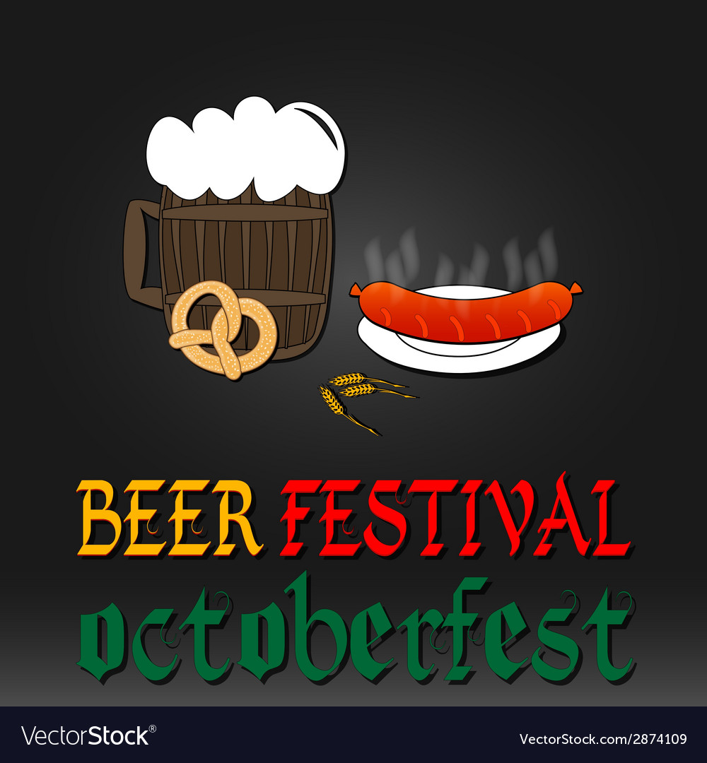 Oktoberfest greeting card poster with mug of beer vector | Price: 1 Credit (USD $1)