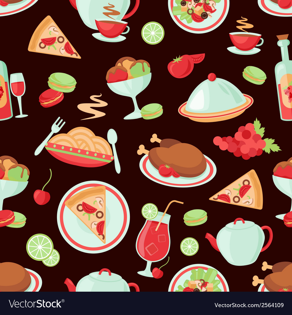 Restaurant seamless pattern vector | Price: 1 Credit (USD $1)