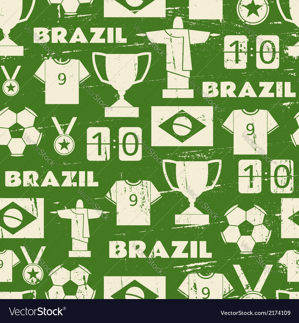 Seamless repeat pattern with brazilian symbols vector | Price: 1 Credit (USD $1)