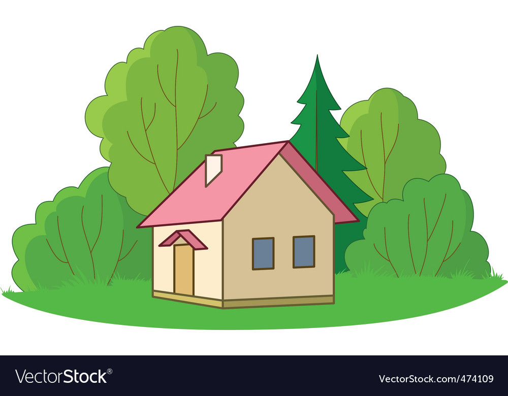 Small house with trees vector | Price: 1 Credit (USD $1)