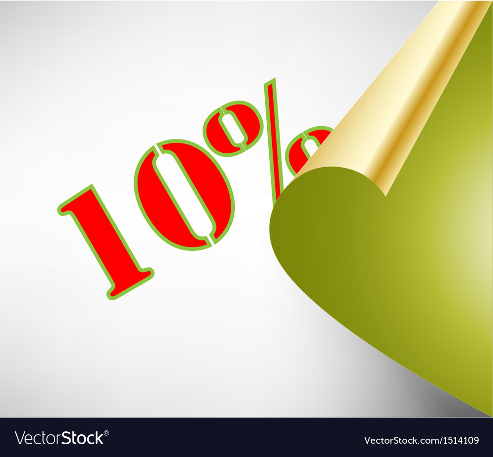 Ten percent discount coupon vector | Price: 1 Credit (USD $1)