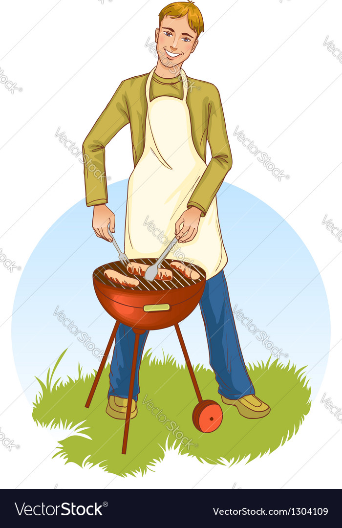 Young handsome man at a barbecue grill vector | Price: 3 Credit (USD $3)