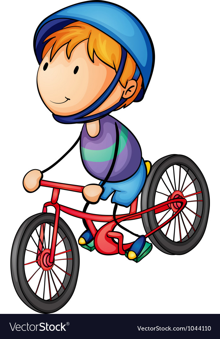 A boy riding on a bicycle vector | Price: 1 Credit (USD $1)