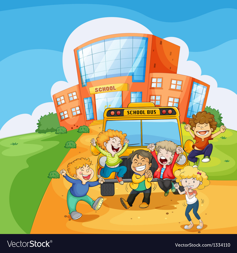A school bus in front of the school vector | Price: 1 Credit (USD $1)