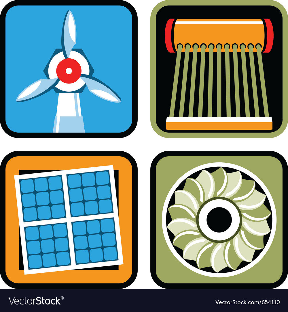 Alternative energy icon set vector | Price: 1 Credit (USD $1)